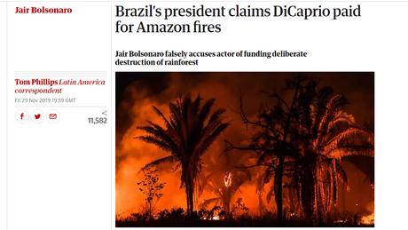 Jornal The Guardian diz que Bolsonaro acusou DiCaprio 'falsamente' de destruir floresta brasileira.