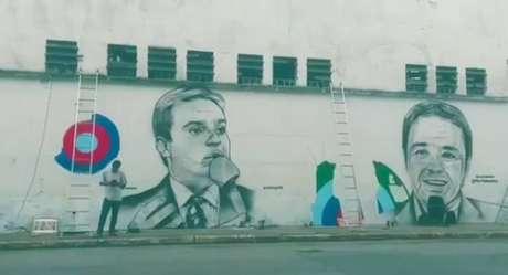 Mural em homenagem a Gugu Liberato feito pelo artista plástico Paulo Terra.