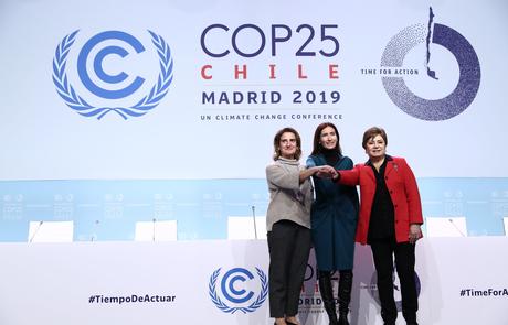 COP25 será liderado por três mulheres: a ministra espanhola Teresa Ribera, a presidente da conferência Carolina Schmidt e a chefe da ONU para o Clima, Patricia Espinosa