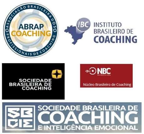 Logos de algumas instituições de coaching com nomes parecidos.