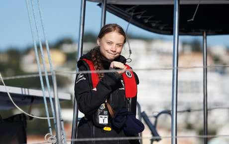 Ativista do clima Greta Thunberg chega a Lisboa a bordo de catamarã 03/12/2019 REUTERS/Rafael Marchante