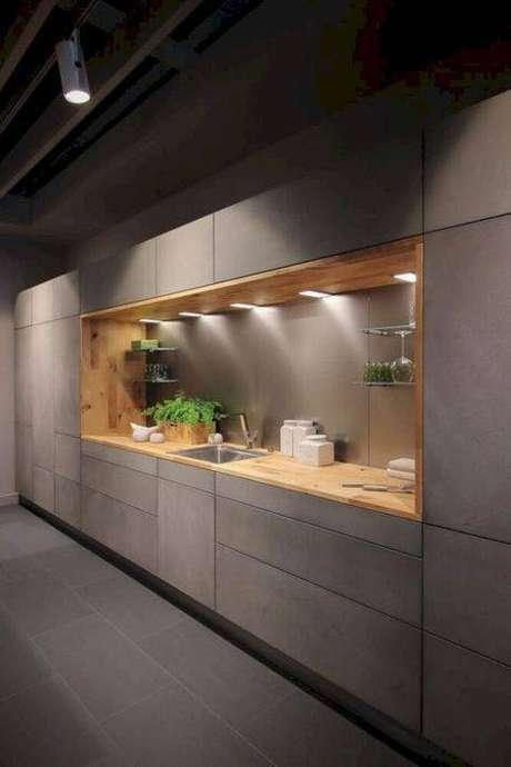 14. A cozinha cinza pode ser feita de muitas formas. Foto: Casa Très Chic