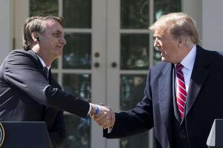 Jair Bolsonaro e Donald Trump durante reunião na Casa Branca, em março