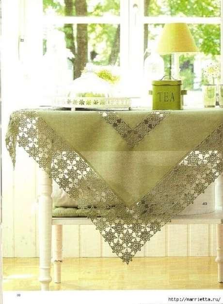 24.Destalhe de toalha de mesa de crochê