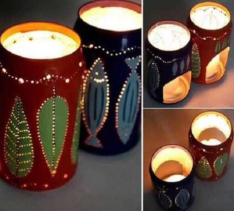 6. Latas decoradas de cerveja servem como lanternas. Fonte: Pinterest