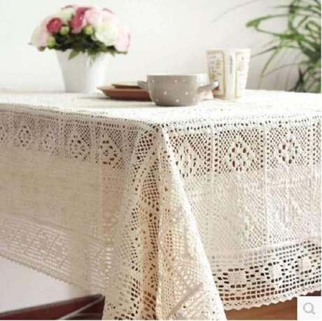 36. Ponto delicado para toalha de mesa de crochê quadrada