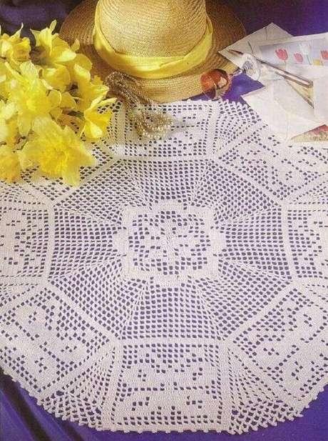 37. Ponto para toalha de mesa de crochê