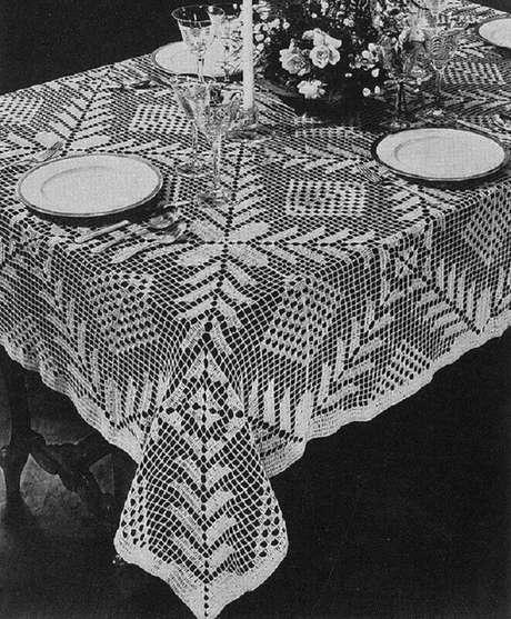 4. Utilize o barbante mais fino para a toalha de mesa de crochê quadrada