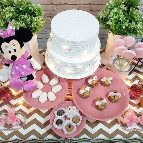 88 – A pelúcia da Minnie trouxe alegria para a mesa do bolo. Pinterest