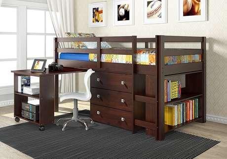 20.O beliche com escrivaninha retrátil trás ainda mais mais conforto e organização para o quarto.