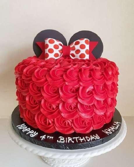 3 – Bolo decorado para festa da minnie vermelha. Fonte: Pinterest
