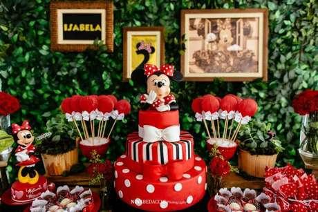 2 – Decoração para festa da minnie vermelha com elementos pontuais nas cores amarelo, preto e branco. Fonte: Dcore Você