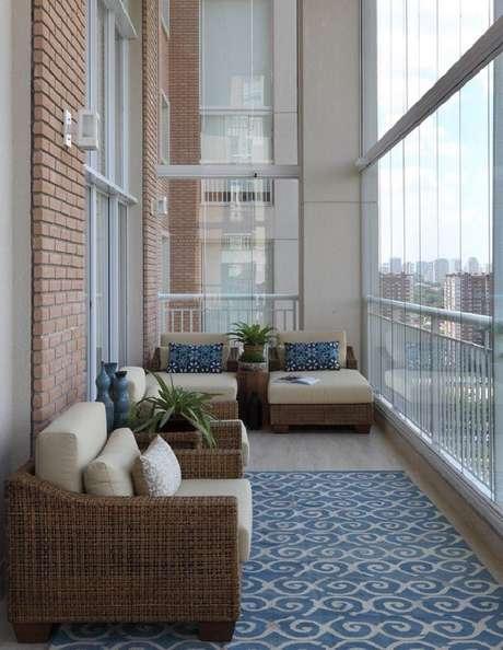 46. Decoração sofisticada com móveis para varanda de fibras naturais- Foto: Mediabix