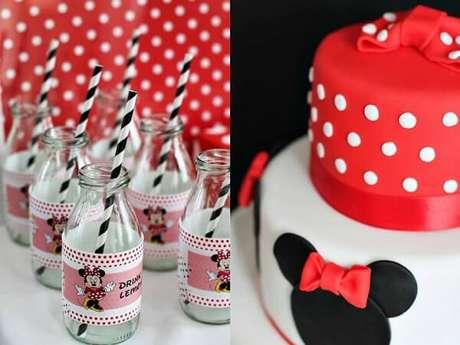 33 – Garrafas de vidro e bolo decorado para festa da Minnie vermelha. Fonte: Construindo Decor