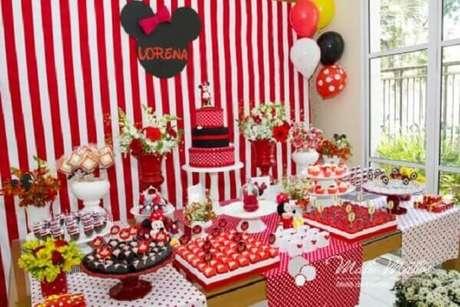 94 – Invista em um painel listrado nas cores vermelho e branco para decoração da festa da Minnie. Fonte: Pinterest