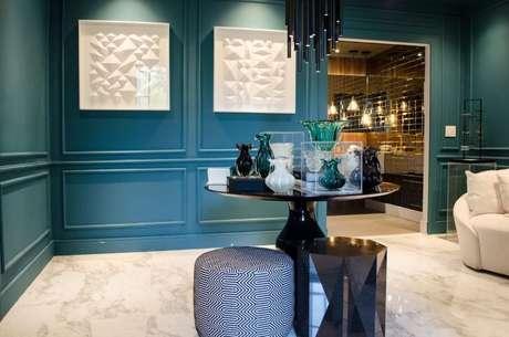 48. Paredes azul Tiffany em ambiente sofisticado. Projeto de Casa Cor SP 2017