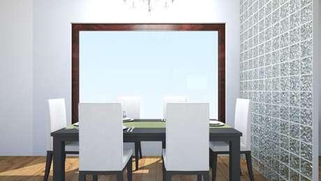 54. Projeto de sala de jantar com parede de tijolo de vidro
