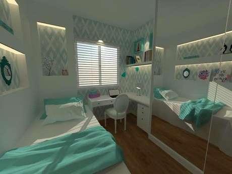 28. No projeto de Jacqueline Fumagalli, toda a decoração do quarto conta com toques de azul Tiffany