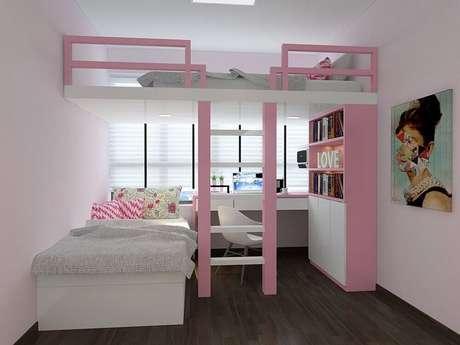 41. Decoração de quarto rosa com beliche com escrivaninha embaixo