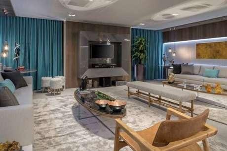 46. Cortina turquesa e almofadas azul Tiffany. Projeto de Casa Cor Brasília 17