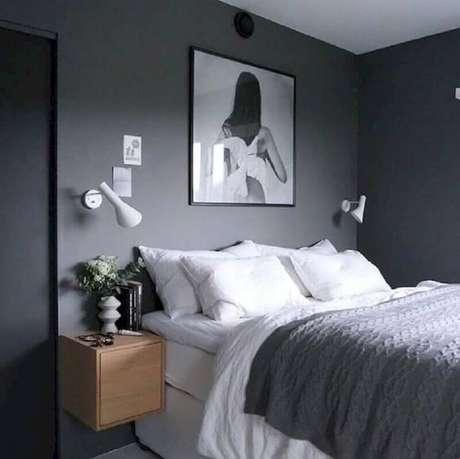64. Tons de cinza para parede de quarto feminino moderno – Foto: FBH Decorations Ideas
