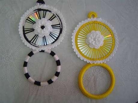 38. Artesanato com CD e crochê. Fonte: Pinterest