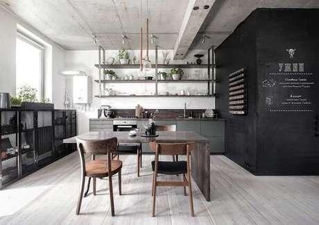 48. Cozinha com decoração descolada e piso flutuante. Fonte: Pinterest