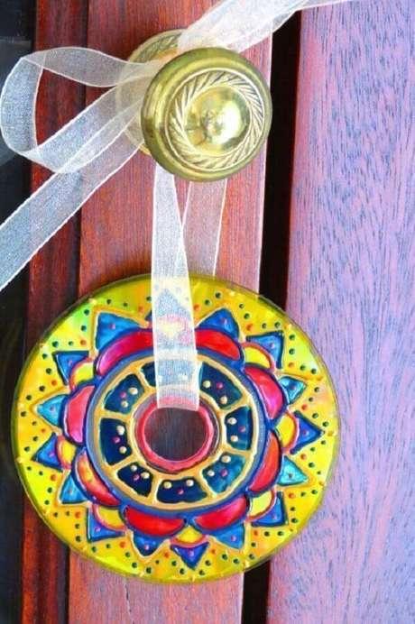 29. Artesanato com CD para porta. Fonte: Pinterest
