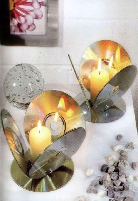 18. Mais um modelo de porta vela para incrementar a decoração com CD. Fonte: Pinterest