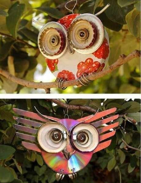 58. Forme lindas corujas através do artesanato com CD. Fonte: Artesanato Total