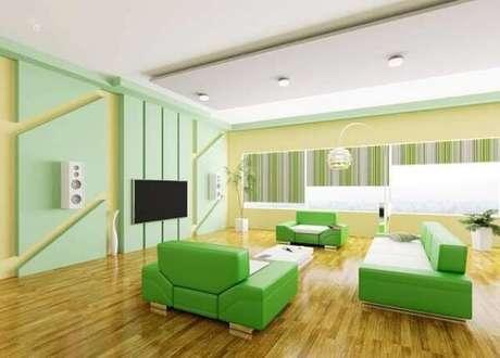 52. Escritório com decoração criativa em tons de verde. Fonte: Blog Casa Show