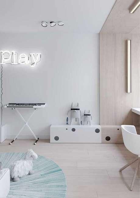 5. Piso flutuante branco para quarto infantil. Fonte: Pinterest