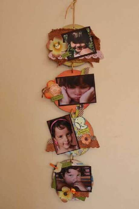 4. Modelo de porta retrato de CD pendurado. Fonte: Pinterest