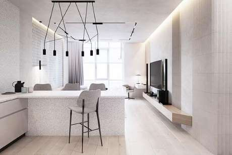 58. Sala moderna com rebaixamento de gesso. Via: Pinterest