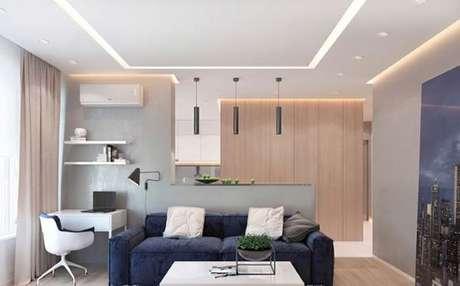 67. Rebaixamento de gesso para sala e cozinha integrada. Via: Pinterest