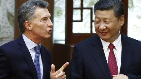 Xi Jinping com Macri, que deixa a Presidência da Argentina; dívida argentina com a China é de US$ 16,9 bi