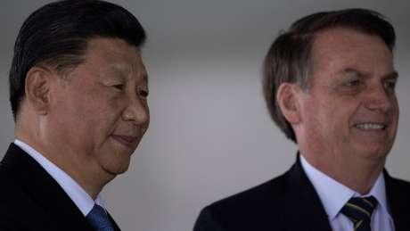 """Bolsonaro em reunião com Xi Jinping em Brasília, em 14 de novembro; China é """"cada vez mais parte do futuro do Brasil"""", disse ele"""