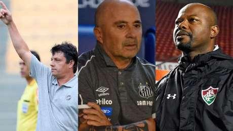 Técnicos estudam a rodada final (Fotos: Paulo Sergio/Lancepress; Ivan Storti/Santos; Maílson Santana/Fluminense)