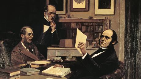 Darwin (à dir.) em sua casa, junto ao geólogo Charles Lyell (de pé) e o botânico Joseph Hooker na pintura de Victor Eustaphieff: Hooker era diretor do Jardim Botânico de Londres, Kew Gardens, e Darwin manteve uma longa correspondência com ele sobre seus experimentos
