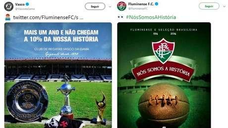 Tricolor brincou com frase escolhida de mosaico da torcida do Vasco (Foto: Reprodução/Twitter)