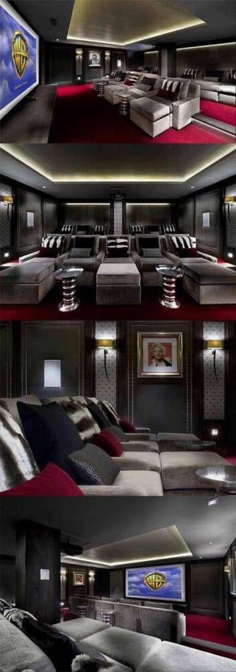 24. O cinema em casa pode ter detalhes diversos, como quadros e lâmpadas. Fonte: Pinterest