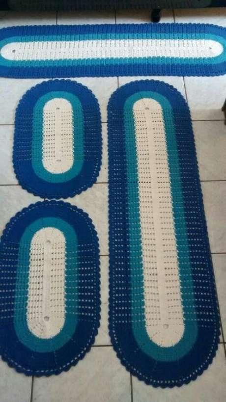 78. O tapete de crochê para cozinha oval é o que há de mais comum. Foto: Pinterest