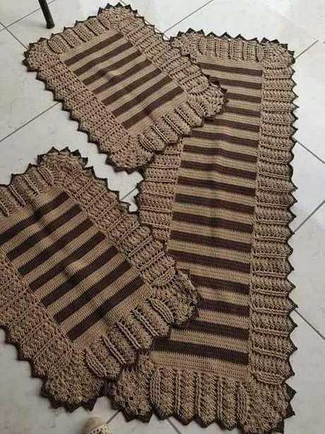 91. Listras escuras também são ótimas para tapete de crochê para cozinha. Foto: Dcore Você