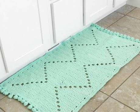 20. Tapete de crochê para cozinha verde menta. Foto de Fave Crafts