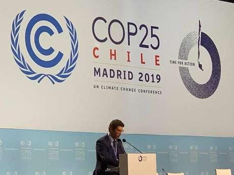 Ricardo Salles durante discurso na COP nesta terça-feira.