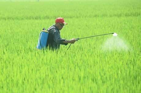 Fazendeiro aplica agrotóxico