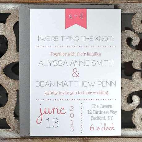 11. O convite de casamento barato pode ser feito por você mesmo, basta ter um computador e bastante criatividade – Foto: Pinterest