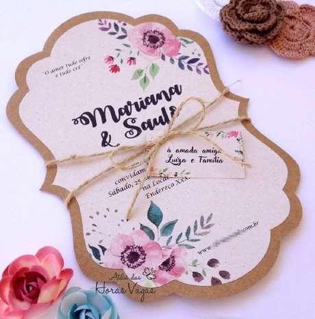 75. Convite de casamento simples e barato de fazer em casa. Fonte: Pinterest