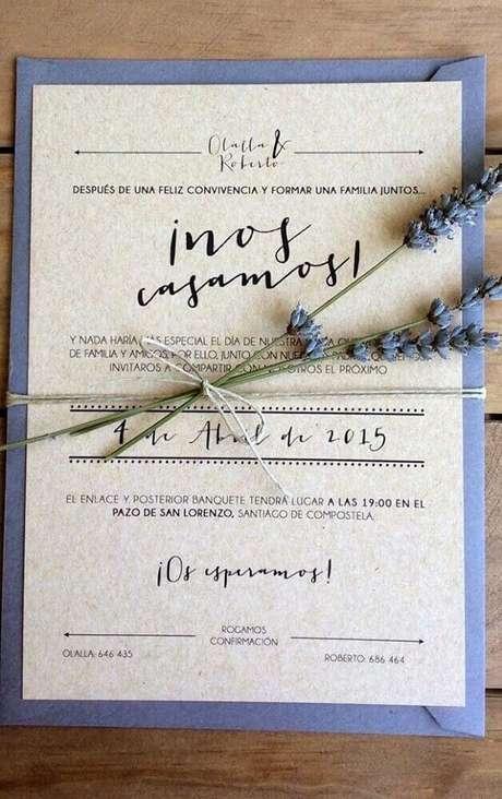23. O papel reciclável é uma boa alternativa para os convites de casamento barato – Foto: Pinterest