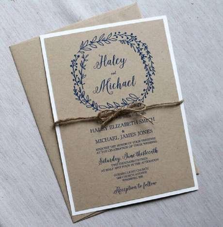 48. Laço feito com barbante para convite de casamento simples e barato – Foto: Pinterest